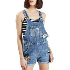 Petite Topshop Badge Short Overalls ($85) ❤ liked on Polyvore featuring jumpsuits, rompers, mid denim, petite, short overalls, summer rompers, blue rompers, sequin rompers and topshop rompers