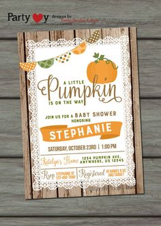 Captivating Pumpkin Baby Shower Invitation Fall Baby By PartyInvitesAndMore