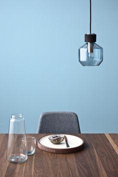 Lámpara de cristal azul