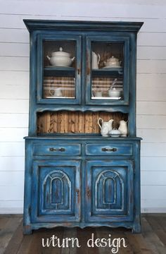 Blue hutch, painted farmhouse hutch, weathered china cabinet is part of Distressed China cabinet - This item is sold and up for portfolio purposes only Distressed Furniture, Refurbished Furniture, Paint Furniture, Repurposed Furniture, Furniture Projects, Rustic Furniture, Shabby Chic Furniture, Cool Furniture, Distressed Hutch