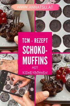 Gesunde Schokomuffins nach der TCM. Sind super als Snack. Schokomuffins mit Kidneybohnen gehen schnell und sind lecker, saftig und fluffig. #schokomuffin #muffin #kidneybohnen #rezept Happy Foods, Snacks, Super, Dinner, Desserts, Paleo, Yoga, Fitness, Gift