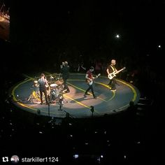 #Repost @starkiller1124 #u2 #u2ietour ・・・ U2 jamming out and tearing the house down!!!!! #U2 #Bono #TheEdge #AdamClayton #LarryMullenJr #U2iNNOCENCEeXPERIENCEtour #U2IETour #TheForum
