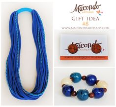 Out of the blue!  Lycra fabric necklace, wood earring studs, bombona seeds bracelet.