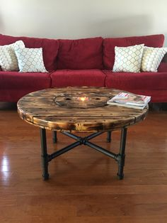 Coffee table wooden coffee table upcycle by KnottyNuffWood on Etsy Reclaimed Furniture, Pipe Furniture, Upcycled Furniture, Pallet Furniture, Refinished Furniture, Furniture Vintage, Industrial Furniture, Furniture Design, Wood Spool Tables