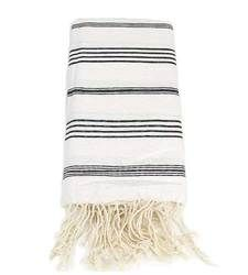 Hammam Towel - White & Black Irregular Stripes