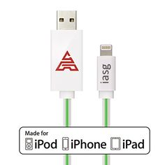 [MFi Certificated] iasg 8Pin Lightning to USB Cable Green Visible Flowing LED EL Light Up Data Sync & Charging Cable Super Fast Transfer Speed up to 480Mb/s for Apple iPhone 5 5c 5s 6 6 plus / iPad, iPad Air, MacBook Pro, MacBook Air, iPod touch 5th generation, iPod nano 7th gen. 1meter White and Green Iasg http://www.amazon.com/dp/B00Y9I4IB6/ref=cm_sw_r_pi_dp_.JxZvb1J00MMF