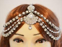Silver Crystal Three Row  Pearl Indian Matha Patti by bjewel78, £35.00