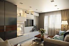 Egy egyedülálló férfi másfél szobás otthona, 45m2 modern, elegáns, otthonos berendezéssel Design Case, Apartment Design, Small Apartments, Interior Inspiration, Living Room Decor, Dining Room, Sweet Home, House Design, Minimalism