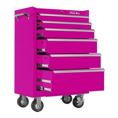 Heavy Duty Pink rolling cabinet. Ultra durable powder coated steel Coded lock with pink key. Extruded aluminum drawer pulls. Custom pre-cut pink drawer liners. Eye catching pink color. Outside Dimensi
