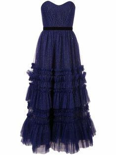 Shop online blue Marchesa Notte glitter ruffle gown as well as new season, new arrivals daily. Dressy Dresses, Formal Evening Dresses, Formal Gowns, Formal Wear, Evening Gowns, Club Dresses, Elegant Cocktail Dress, Thing 1, Online Dress Shopping