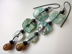 Do You Know How to Waltz? -ancient iridescent crusty pearly blue Roman glass, honey amber lampwork glass, & ox copper long wire wrap earring by LoveRoot