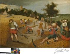 Dit werk bestaat uit vier paneeltjes die respectievelijk de lente (het aanleggen van een tuin), de zomer (korenoogst), de herfst (het slachten van een varken) en de winter (schaatsers) voorstellen. Ze werden geschilderd naar gravures van Peter Van der Heyden. Voor de lente en de zomer baseerde deze kunstenaar zich op tekeningen van Pieter Brueghel, voor de herfst en de winter op werken van Hans Bol. Dergelijke werken waren erg populair: ze leenden zich immers uitstekend voor realistische ...