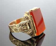 Handsome Art Deco Carnelian Green Gold Statement Ring - RGCN730N