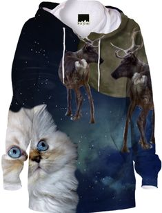 Cat and Reindeers Hoodie #paomhoodies #cats
