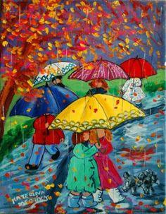 Katerina Mertikas Umbrella Art, Under My Umbrella, Art Et Illustration, Illustrations, Painting People, Painting For Kids, I Love Winter, Walking In The Rain, Naive Art