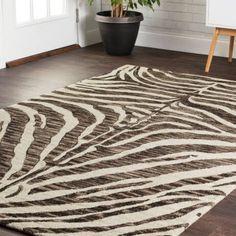 Cabery Hand Hooked Wool Black Brown Ivory Beige Area Rug Zebra Print Rug Rugs Area Rugs