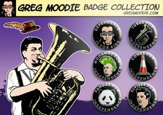 "Six individual 1"" button badges on a glossy A6 Blair McDougall-themed card. An indyref collector's item!"