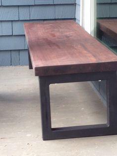 Salvaged Black Walnut Custom Bench | Metal Base