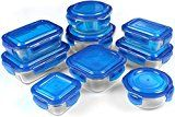 #8: Glass Food Storage Container Set  Blue  BPA Free  FDA Approved  Reusable  Multipurpose Use for Home Kitchen or Restaurant  (18 Piece)  by Utopia Kitchen