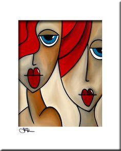 De beste in de originele abstracte kunst, popart, moderne kunst, sculptuur en moderne schilderijen. Grote schilderijen met heldere kleuren en vet lijnen die je glimlach. Artiest: Thomas C. Fedro Titel: En ze Was GROOTTE: 11 x 14 beeld, gematteerd naar 16 x 20 MEDIUM: Originele giclee,