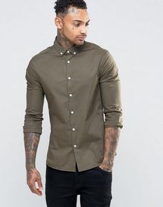 Lacoste Skinny Shirt In Khaki With Button Down Collar Knockoff