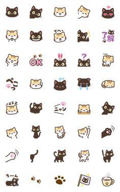 black cat and calico cat emoji – LINE Emoji Emoji Kawaii, Cat Emoji, Kawaii Cat, Stickers Kawaii, Emoji Stickers, Cute Stickers, Emoji Drawings, Kawaii Drawings, Doodle Drawings