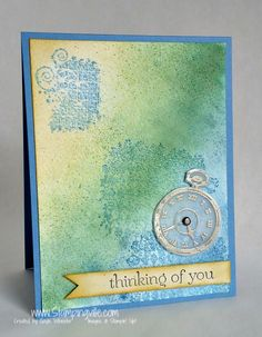 Stampingville: Masculine Clockworks Watercolor Card.    Heat embossed pocket watch on velum.