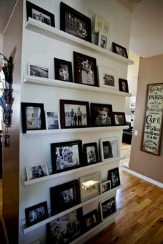 wall of pictures, no nail holes, change it up as often as I want...family, vacations, quotes...