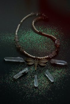 The Dragonfly Dream  Crystal necklace  Agate by ErosMagica on Etsy