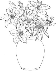 Creative Haven Beautiful Flower Arrangements Coloring Book - Dover Publications Flower Coloring Pages, Coloring Book Pages, Printable Coloring Pages, Mandala Coloring, Coloring Sheets, Fleurs Van Gogh, Beautiful Flower Arrangements, Beautiful Flowers, Digi Stamps