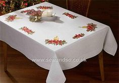 Candle and Poinsettia 130 x 160cm Embroidery Tablecloth Kit