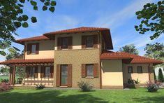Emeletes családi ház 201 m2 | Családiházam.hu Tuscan House, New House Plans, Modern House Design, New Homes, Farmhouse, Exterior, Contemporary, Mansions, Architecture