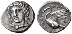 Clazomenae  Drachm circa 360, AR 4.05 g. Laureate head of Apollo facing three-quarters l., wearing chlamys secured by round brooch. Rev. AΠ – OΛΛA – Σ Swan standing l., with open wings; below, KΛ. Traité II, 1997 and pl CLV, 25. Boston 1861. Kunstrfreund 219 (this coin).