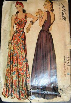 Vintage Original McCall 30's Printed Evening Dress Pattern No. 3865