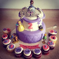 Sofia the first Birthday Cake and Cupcakes