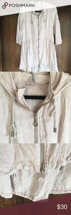 """100% linen Miilla jacket Super cute and I am so sad it is too small on me now.  100% linen, natural color, draw string bottom, hood, sleeves can be rolled up and buttoned, zips up.  Hemline is scooped lower in the back.  Armpit to armpit 19"""" across shoulder back 16"""" Miilla Clothing Jackets & Coats"""