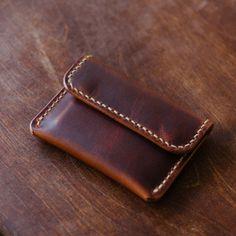 Button Snap Wallet Horween English Tan Dublin handmade by | Etsy