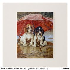 Wait Till the Clouds Roll By W.H. Trood cute dogs Jigsaw Puzzle