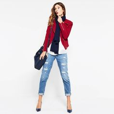 """A reinterpretation of the boyfriend, with a slimmer, more feminine fit. Our girlfriend jeans are crafted with a relaxed fit through the hip and thigh with an easy rolled cuffed. Ball chain detail adds just the right amount of attitude that teams well with flats or ankle boots. Destructed chain girlfriend jeans Sits 2"""" below waist Silvertone button fly front; belt loops 5-pocket style with tonal stitching Silvertone hardware; ball chain destruction detail Relaxed through the hip and thigh…"""