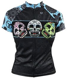 Dia Trs SugarSkull Womens Cycling Jersey Small Blue -- Want to know more, click on the image.Note:It is affiliate link to Amazon.