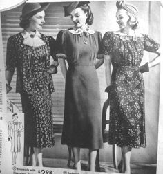 Vintage Maternity Clothes History (and photos)     1938 maternity dresses with side and back wraps