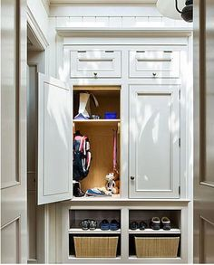 """Another awesome closet """"mudroom"""".  The doors on the cubbies are cool, but no bench."""