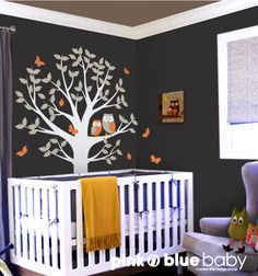 Love the color on the dark wall, and SUPER cute owls! (Owls Tree and Butterflies Nursery Wall Decal by pinknbluebaby, $82.00)