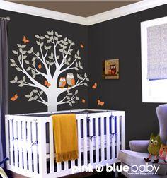 Árbol de búhos y mariposas  vivero Wall Decal por pinknbluebaby