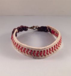 Baseball bracelet with Lobster Claw Clasp , Baseball Bracelet, Mens Bracelet, Leather Bracelet,Mens Leather Bracelet, Leigh Bee Jewelry