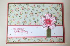 Karte zum Geburtstag - Karten basteln - selbstgebastelt - Geburtstagskarte - Blumen - grün - pink - basteln