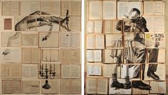 Book Paintings by Ekaterina Panikanova painting installation collage books Collage Book, Book Art, Collage Ideas, Art Ideas, Colossal Art, Art Design, Graphic Design, Altered Books, Art Techniques
