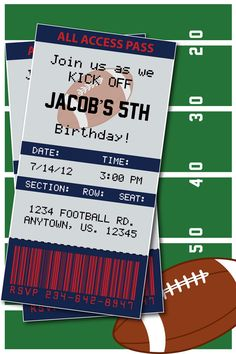Football Themed Birthday Party or by HeathersPaperPackers on Etsy, $7.00