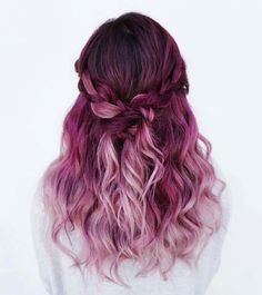 ♡❁Pinterest ☞ Palettequeen❁♡ Beauty: Fantasy Unicorn Purple Violet Red Cherry Pink Bright Hair Colour Color Coloured Colored Fire Style curls haircut lilac lavender short long mermaid blue green teal orange hippy boho ombré woman lady pretty selfie style fade makeup grey white silver Pulp Riot