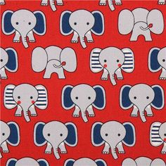 red grey elephant animal oxford fabric by Kokka 1